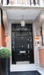 Elegant inset door makes for a fine entrance.